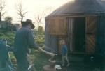 First Yurt Bob cutting wood 1998