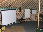 Cinema and teaching space set up, Cardiff University